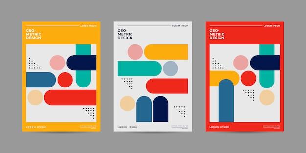Set de couverture géométrique rétro Vecteur Premium