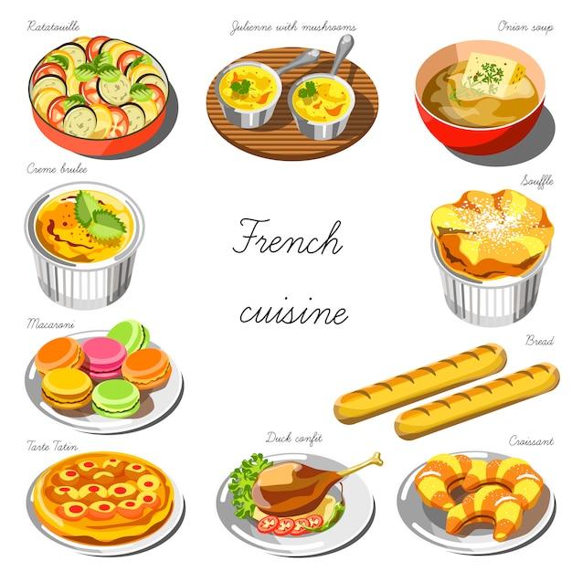 Set de cuisine française. collection de plats Vecteur Premium