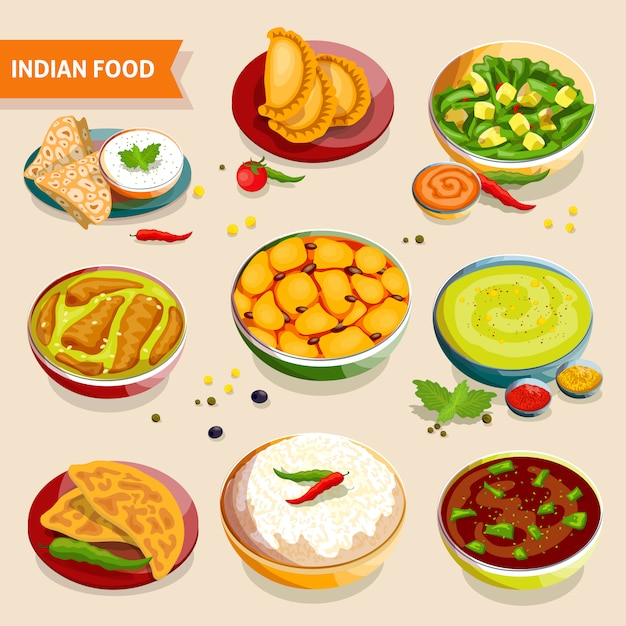 Set de cuisine indienne Vecteur gratuit
