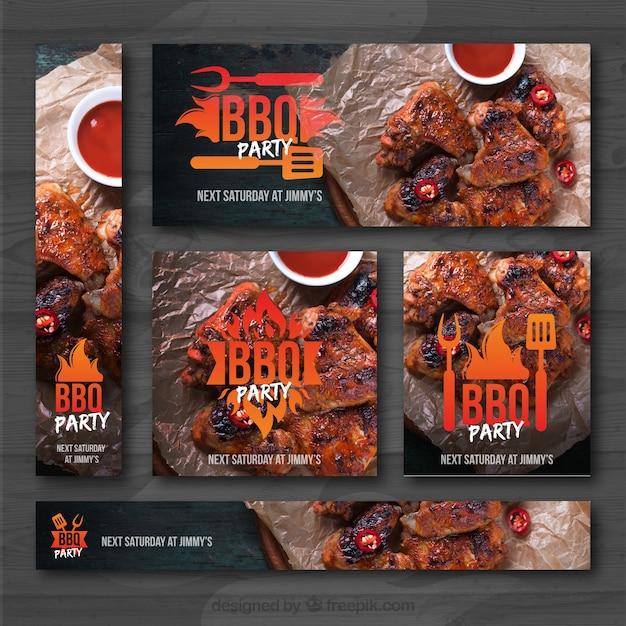 Set d'invitation au barbecue Vecteur gratuit