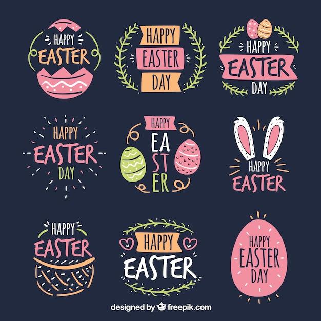 Set de badges de jour de Pâques Vecteur gratuit