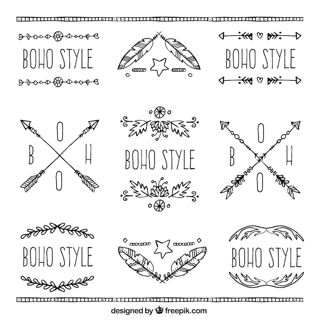 Set de boho ornemental autocollants dessinés à la main Vecteur gratuit