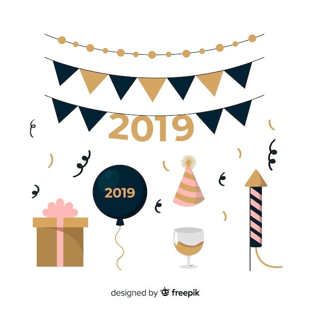 Set de décoration nouvel an 2019 Vecteur gratuit