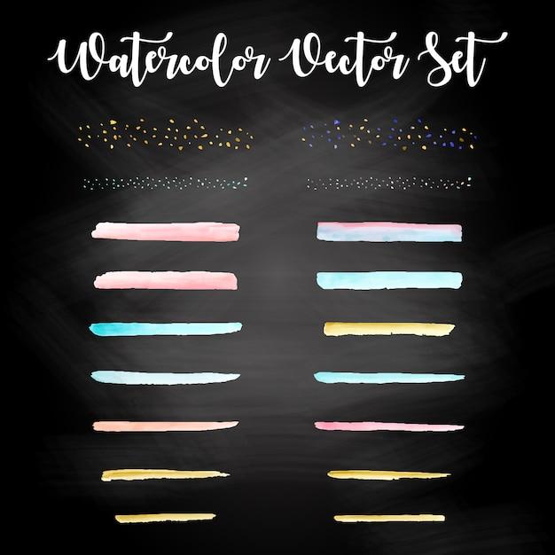 Set de design aquarelle coloré vecteur gratuit Vecteur Premium