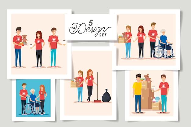 Set Design Donation Charité Vecteur Premium