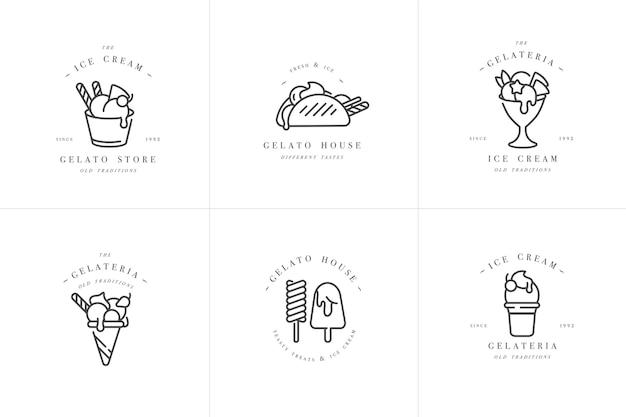 Set Design Logo Modèles Colorés Et Emblèmes Crème Glacée Et Gelato Vecteur Premium