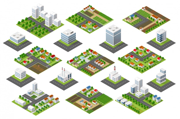 Set district urbain Vecteur Premium