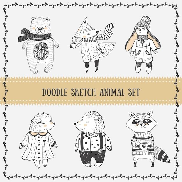 Set doodle sketch cuti animal Vecteur Premium