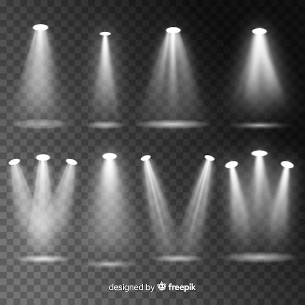 Set d'éclairage de scène réaliste Vecteur gratuit