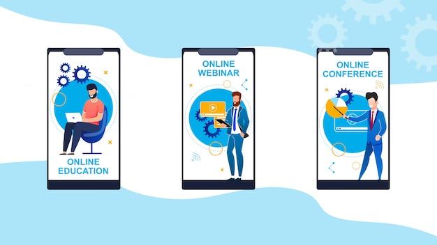 Set education en ligne, webinar, cartoon conference. Vecteur Premium