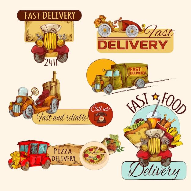 Set d'emblèmes de livraison Vecteur gratuit