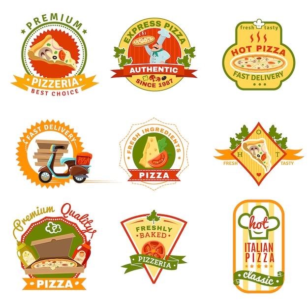 Set D'emblèmes De Pizza Vecteur gratuit