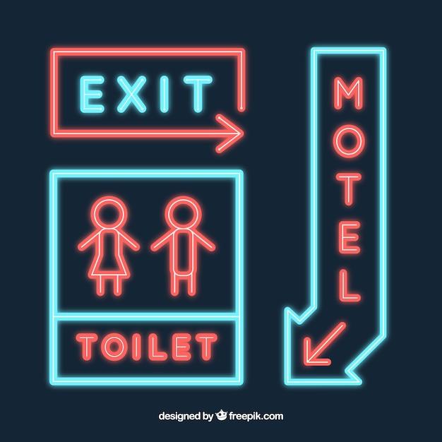 Set d'enseignes au néon pour un motel Vecteur gratuit