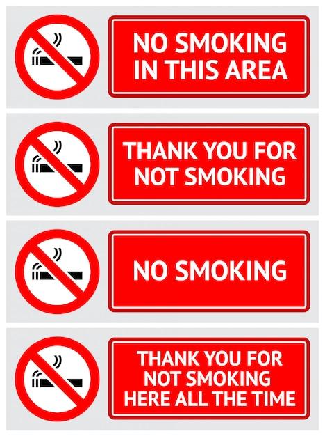 Set D'étiquettes Autocollants Non Fumeur Vecteur Premium