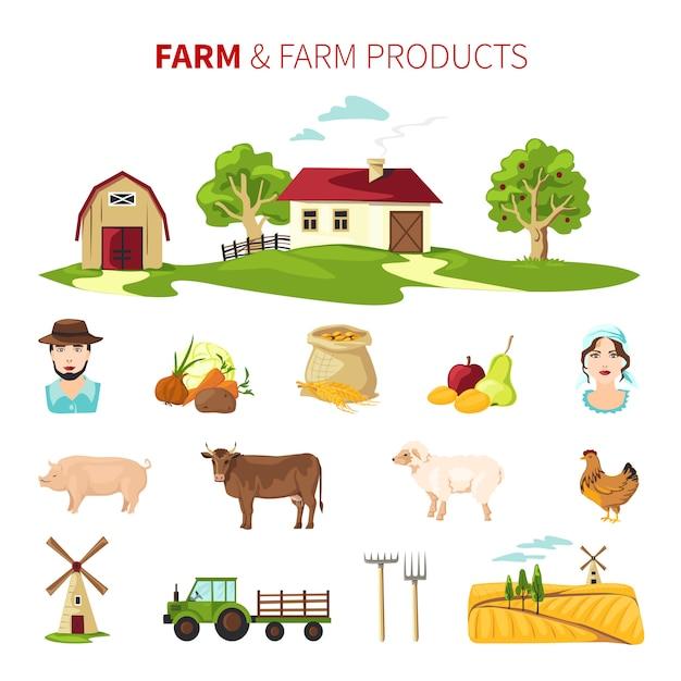 Set de ferme Vecteur gratuit
