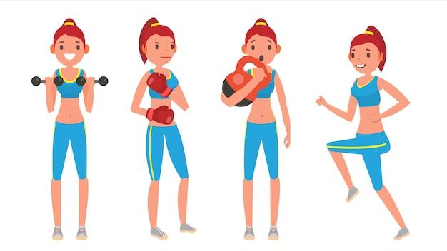 Set Fitness Girl Vecteur Premium