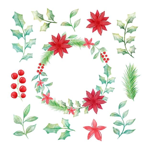 Set De Fleurs Et Couronnes De Noël Aquarelles Vecteur gratuit
