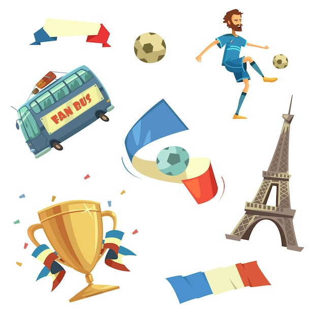 Set de football euro 2016 Vecteur gratuit