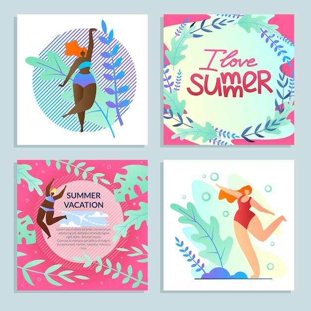 Set fun girls, j'aime l'été, vacances colorées Vecteur Premium