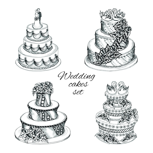Set de gâteaux de mariage Vecteur gratuit