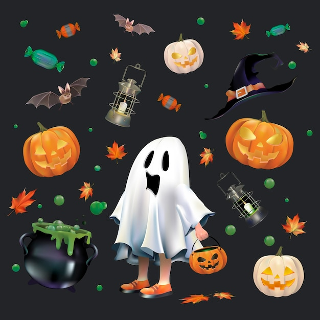Set d'halloween Vecteur gratuit