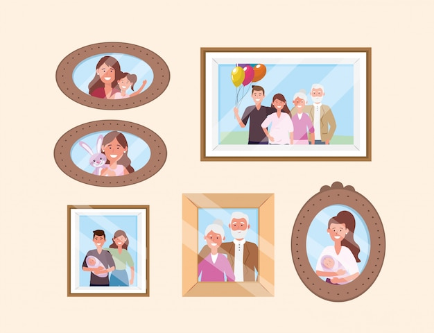 Set happy family pictures souvenirs décoration Vecteur gratuit
