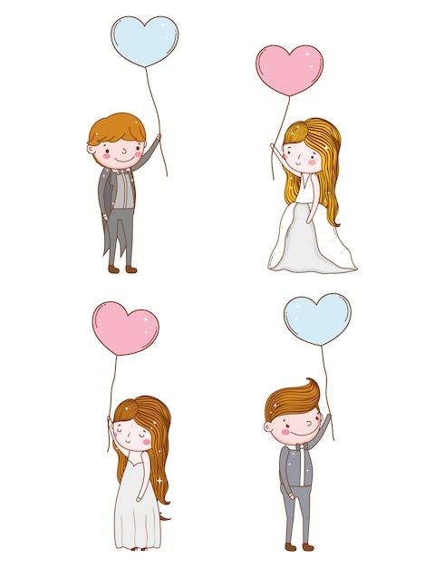 Set homme et femme avec des ballons coeurs Vecteur Premium