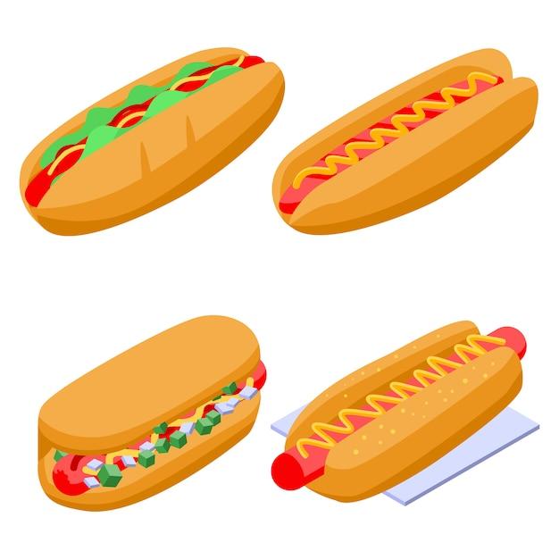 Set de hot-dogs, style isométrique Vecteur Premium