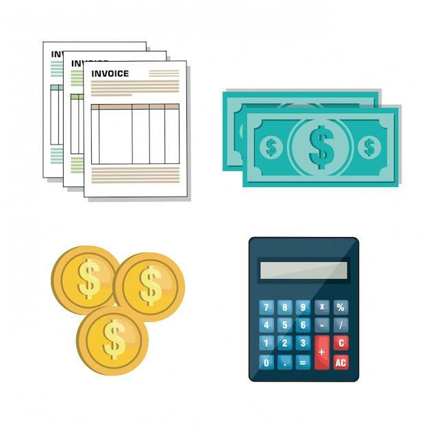 Set icon facture design Vecteur Premium