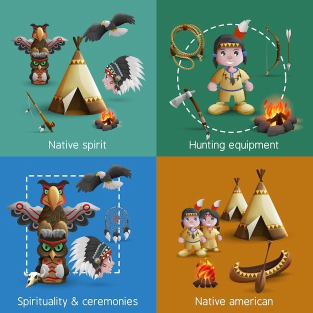 Set d'icônes amérindiennes Vecteur gratuit