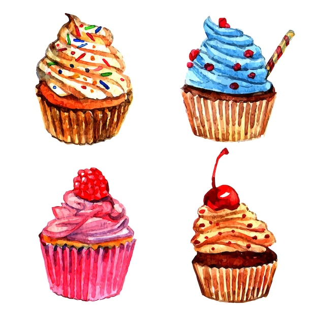 Set d'icônes aquarelles cupcakes Vecteur gratuit