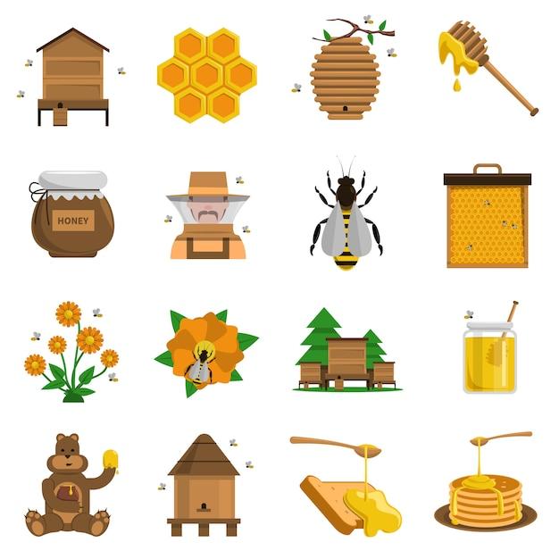 Set d'icônes au miel Vecteur gratuit