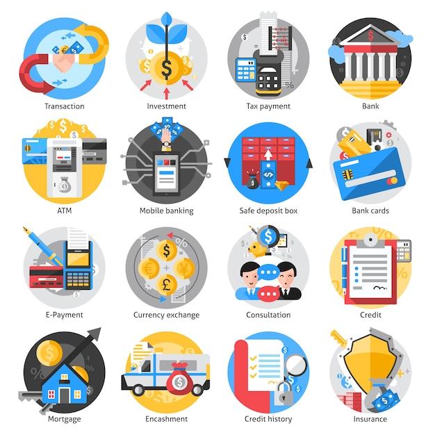 Set d'icônes bancaires Vecteur gratuit