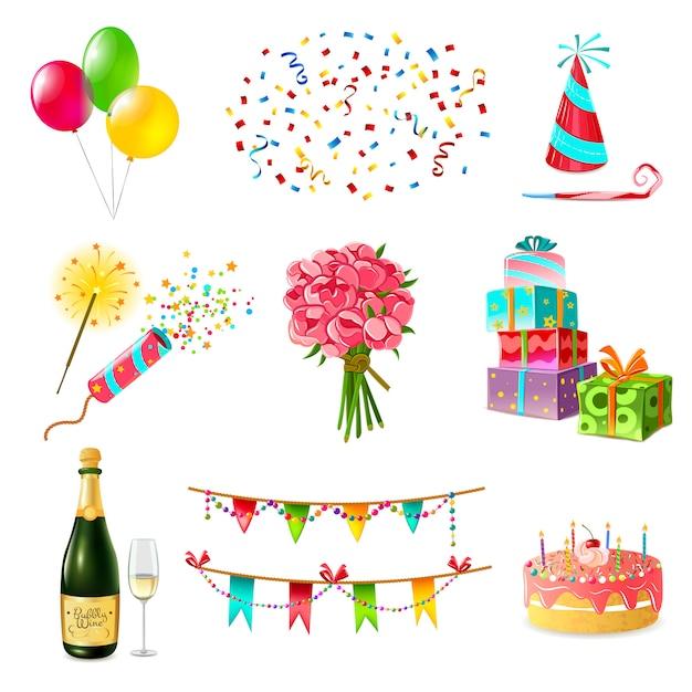 Set d'icônes de célébration Vecteur gratuit