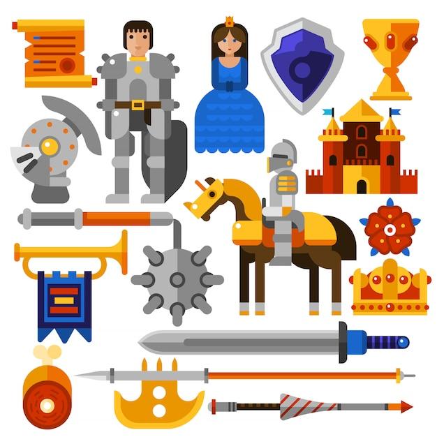 Set d'icônes de chevalier plat Vecteur gratuit