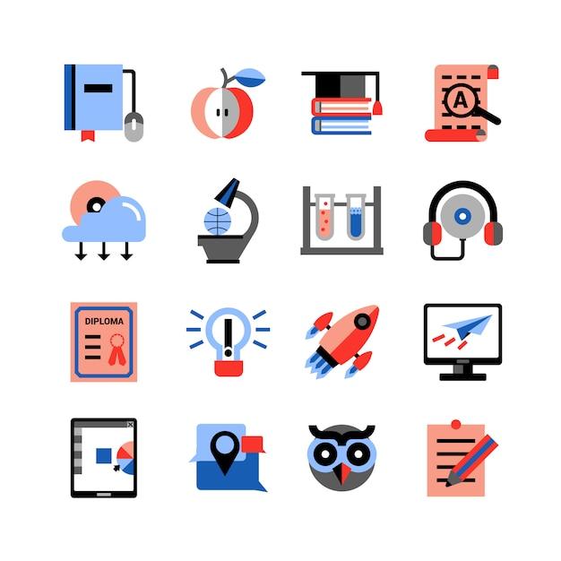 Set D'icônes De L'éducation En Ligne Vecteur Premium
