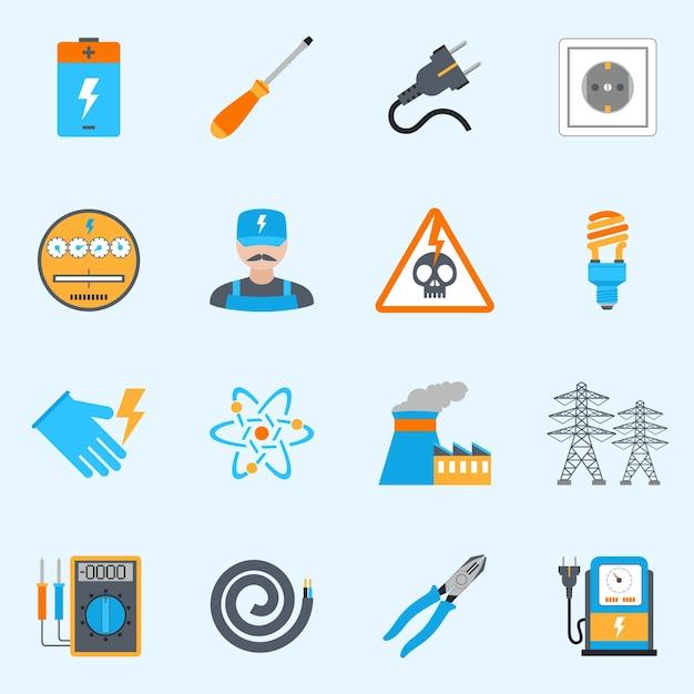 Set D'icônes D'électricité Vecteur gratuit