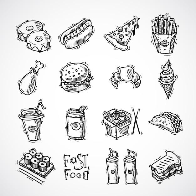 Set D'icônes De Fast-food Vecteur gratuit