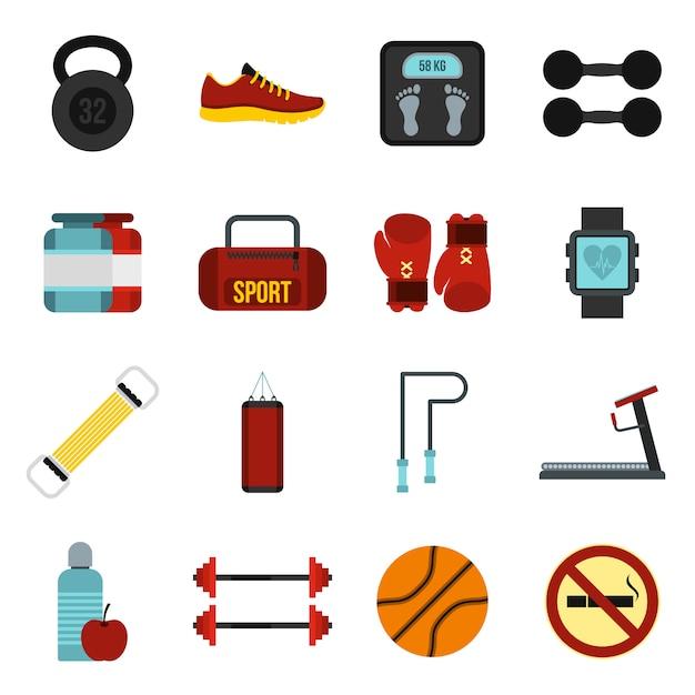 Set d'icônes de gym Vecteur Premium