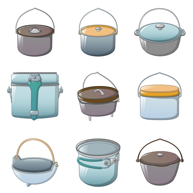 Set d'icônes halloween bouilloire chaudron Vecteur Premium