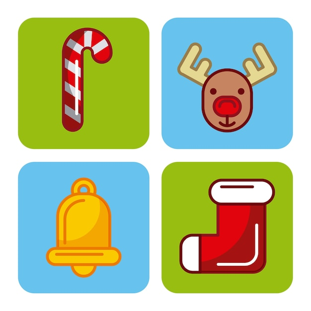 Set D Icones Joyeux Noel Decoration Celebration Ornement