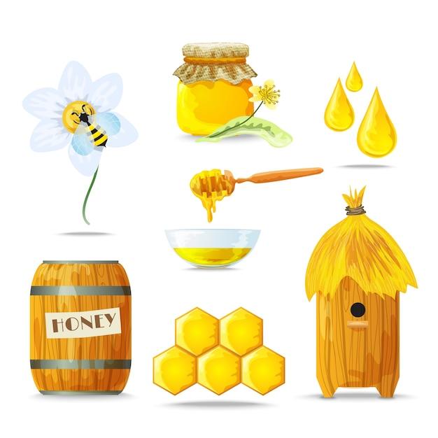 Set d'icônes de miel Vecteur gratuit