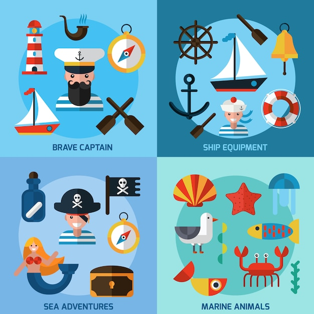 Set d'icônes nautiques Vecteur Premium