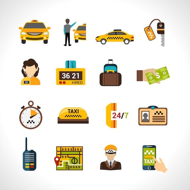 Set d'icônes de taxi Vecteur gratuit