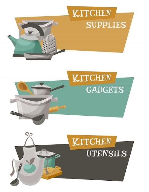 Set d'icônes ustensiles de cuisine Vecteur gratuit