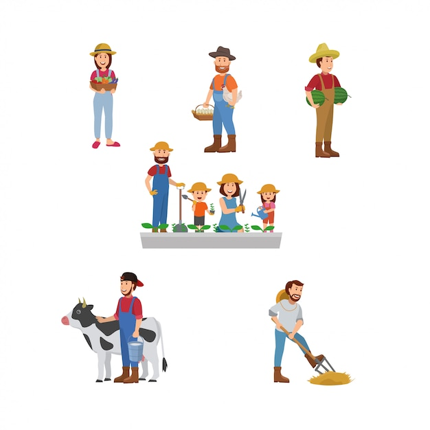 Set illustration des agriculteurs Vecteur Premium