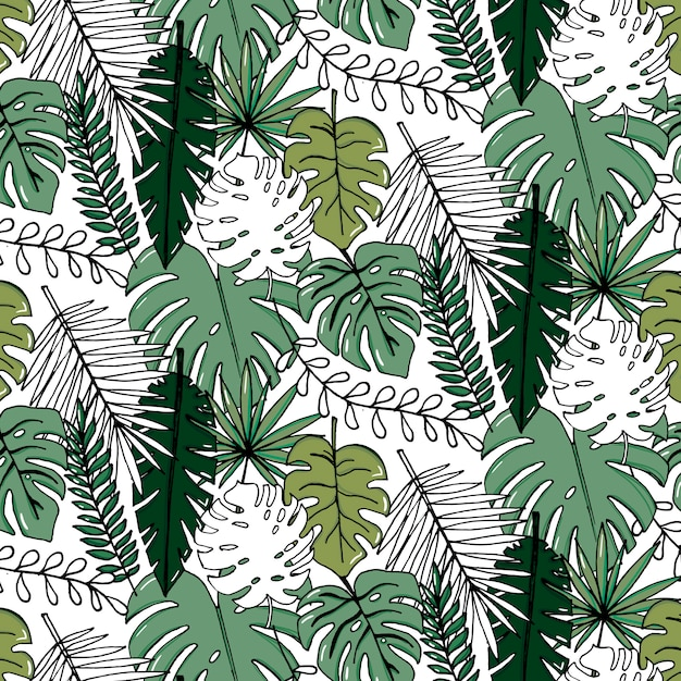 Set D'illustration Réaliste Vector De Feuilles Tropicales Vecteur Premium