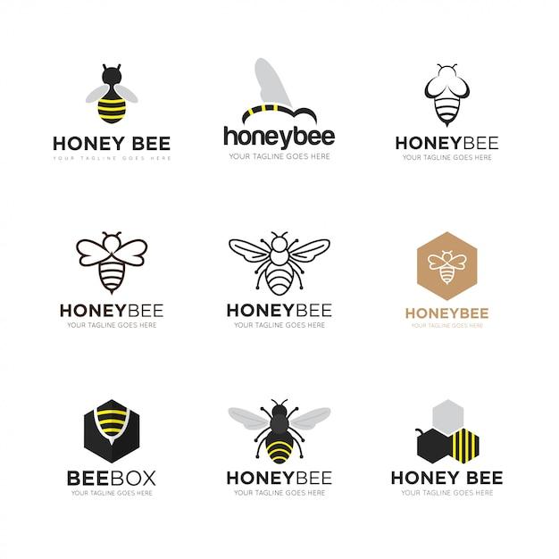 Set illustration vectorielle abeille logo Vecteur Premium