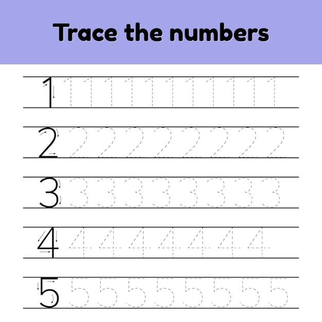 Set d'illustrations vectorielles. numéro de ligne de trace pour les enfants de la maternelle et de la maternelle. Vecteur Premium