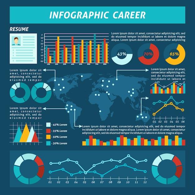 Set d'infographie de carrière Vecteur gratuit